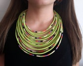 Green Queen #1 yarn-wrapped necklace / tribal / hippie / bohemian / folk / green / rope / Maasai / thread-wrapped