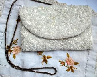 Walbaeg Vintage White Beaded Handbag