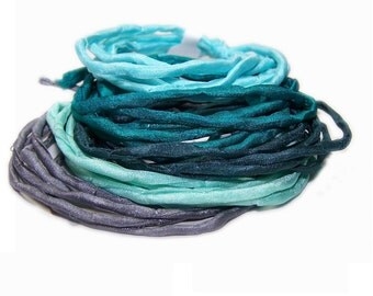 100% Silk Cord Ribbon – Hand Dyed - set of 5 - MYSTERY WATER - turqoise emerald slate mint grey