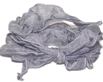 hand dyed silk ribbon GREY - fairy ribbon