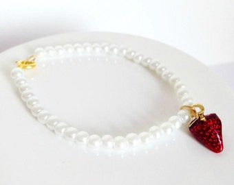 Sweet Pearl Bracelet With Strawberry Charm