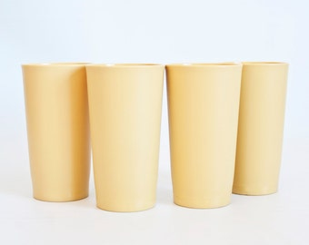 Vintage Tupperware Harvest Gold Plastic Tumblers, 1970s Juice Cups, SET of 4, Made in USA