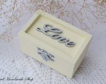 Ivory Ring Box, Ring Bearer Box, Wedding Ring Pillow, Silver Love