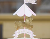 MADE TO ORDER Merry-Go-Round Horse Cake Topper with personalized mini name banner- different colors available