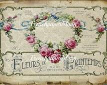 Vintage French Perfume Label Printable, Shabby Chic French Digital Download, French Perfume Ephemera