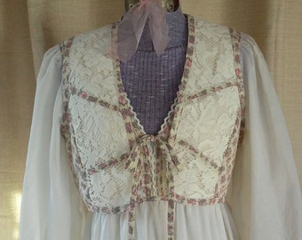 Vintage 70s Prairie Dress with matching vest by JT Dress Company by Jody of California size 12