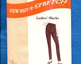 1968 Sew Knit n Stetch 114 Retro Tapered Leg Pants Pattern Sizes S M L  Uncut