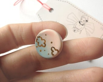clouds pins pink blue and gold porcelain brooch ceramics