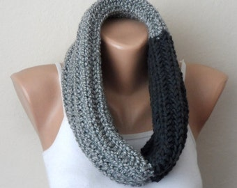 gray smoked knit infinity scarf gray circle scarf winter scarf fashion aceesories women scarves loop scarf gift for her