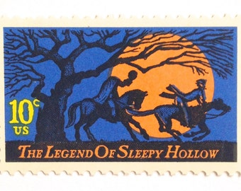 10 Unused Sleepy Hollow Stamps // Halloween Postage Stamps // The Legend of Sleepy Hollow Stamps for Mailing