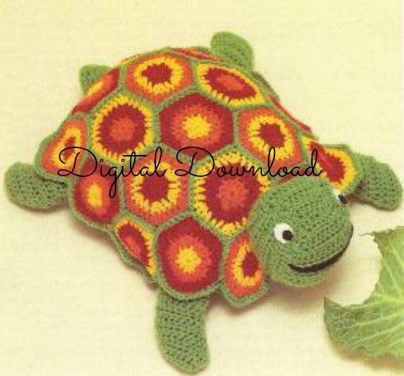 Vintage 1970s Granny Square Turtle Crochet Pattern Toy Amigurumi Stuffed Animal Instant PDF Digital Download