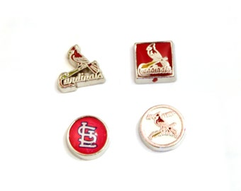St. Louis Cardinals STL Baseball Style Team Floating Locket Charm for Glass Floating Memory Locket Necklaces