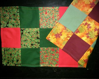 Table runner patchwork approx  12x28.  Christmas and fall reversible.