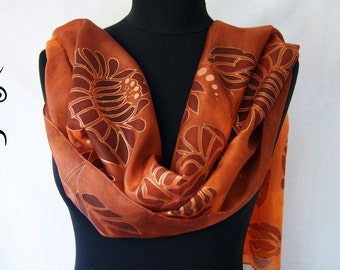 Handpainted High Quality Silk Scarf with hungarian motives