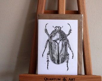 Black and White Beetle Card