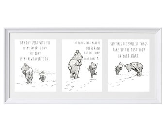Classic Winnie the Pooh Set of Three Prints Wall Art Nursery Art Set #1