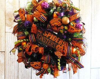 """Halloween Deco Mesh 24"""" Front Door Wreath - """"Spiders & Monsters"""""""
