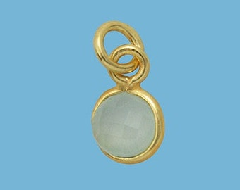 1ea. Tiny 6mm Sea Green Chalcedony and Vermeil Bezel Pendant. 24k Gold Over Sterling Silver with 5mm Jump Ring Birthstone