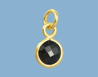 1 ea. Tiny 6mm Black Onyx and Vermeil Bezel Pendant. 24k Gold Over Sterling Silver with 5mm Jump Ring Birthstone
