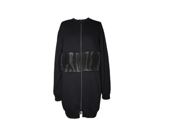 Fleece/organza JK-TEDDY black Zip Jacket