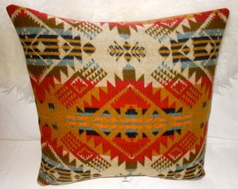 Handcrafted Wool Pillow Cover Native American Style Pendleton Wool Fabric