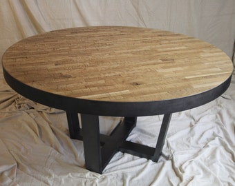 Rustic Distressed Oak Round Industrial Table