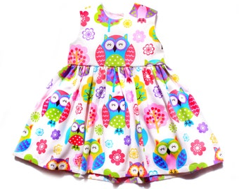 Owl dress Girl Baby Toddler Dress Pink and Green size 3 months to 6 years