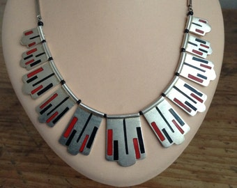 40's enameled  chromium necklace