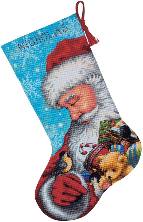 Needlepoint Christmas Stocking Kit Santa And Toys Dimensions
