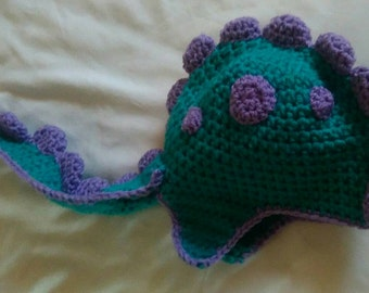 Toddler Dinosaur beanie with removable tail!