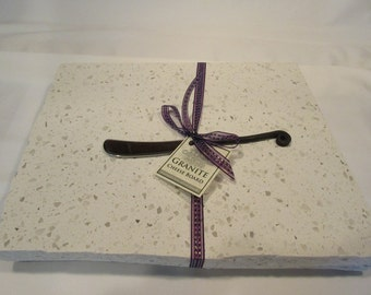 Quartz Cheese Board, Large size, creamy white mix, includes wrought iron style cheese knife
