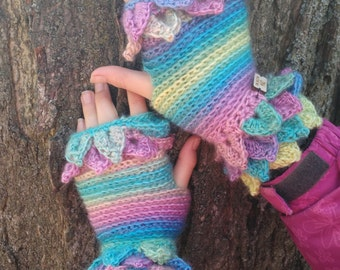 fingerless gloves, leafy fingerless gloves