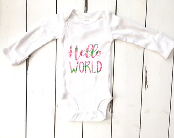 Lily Pulitzer inspired hello world onesie, baby shower gift, coming home outfit