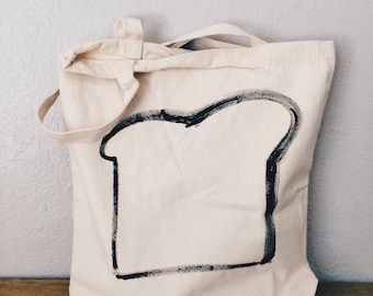 Toast Tote Bag - Canvas Tote - Reusable Bag - Shopping Bag - Hand Painted Tote Bag