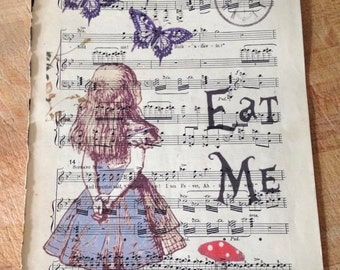 Alice in Wonderland print on vintage music sheet
