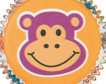 Wilton Jungle Pals Cupcake Wraps, Monkey Cupcake Liners, Zoo Animal Bake Cups, Yellow Baking Cups, Cupcake Supplies, Party Bake Cups