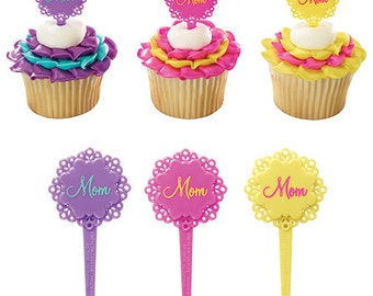 12 Flower Mom Cupcake Picks, Happy Mother Day Cupcakes Party, Cupcake Flower Decor Picks, Cake Embellishment, Mothers Day Cake Deco Picks