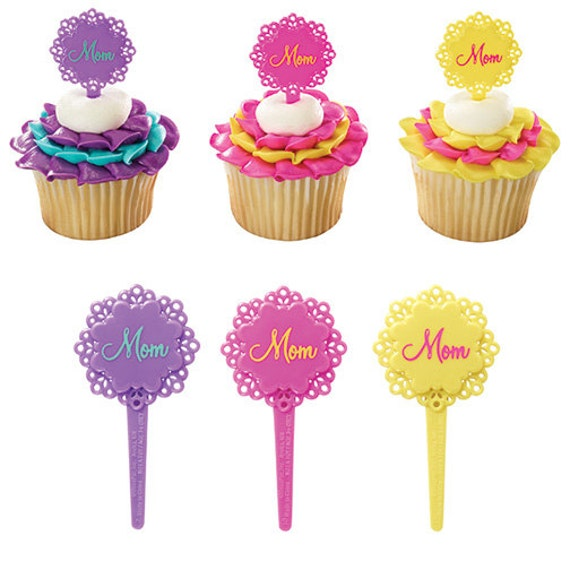12 Flower Mom Cupcake Picks Happy Mother Day Cupcakes Party