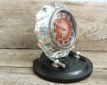 Vintage Soviet  USSR mechanical Table Clock Majak glass mantel clock working order  rare clock antique table clock