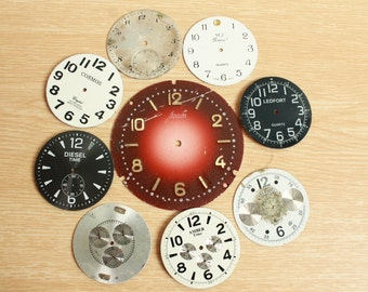 """Lot of 9 Old Vintage big Watch Faces ... 2.5 """" and 1.5 """"  ...  from USSR"""