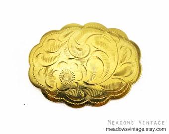 Vintage Birks Gold Brooch, Birks Etched Flower Brooch, Birks Gold Filled Brooch