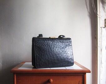 Vintage West Germany Comtesse black leather purse handbag case clutch satchel hobo shoulder bag