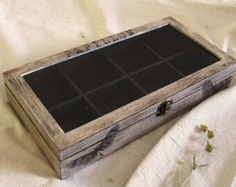 Butterflies wooden tea box ,  wood jewelry box , crystal storage , jewelry display  . box glass lid , decoupage box,  collection storage