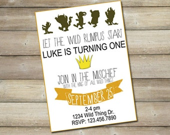 Where the Wild Things Are Birthday Party Invitation, Birthday Invitation, Kids Party, Forest Party