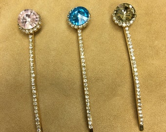 Rhinestone bobbypins slides CHOOSE YOUR COLOUR