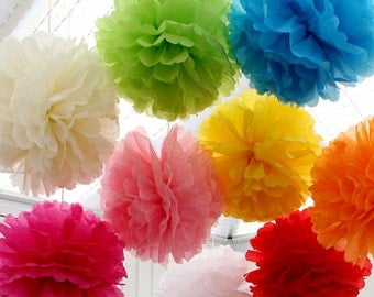5 pack Tissue Paper Pom Pom - Pick Your Colour - Wedding & Event Supplies