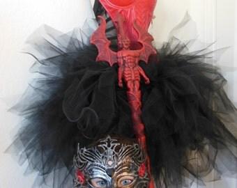 Custom Lucifer or Devil Costume, Corset, Tulle Skirt, Staff, Mask Sz L, 36