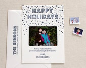 Letterpress Holiday Photo Card Set - 25 or more flat cards with envelopes - 1 ink color- Merry Christmas, Simple, Template, Family, Handmade