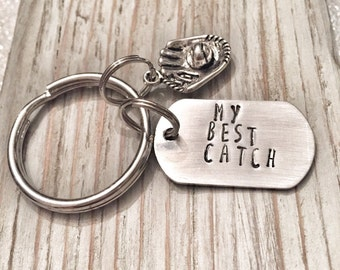 My best catch keychain - anniversary birthday gift softball baseball keychain