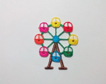 Embroidered Small Colorful Ferris Wheel Iron on Patch Applique